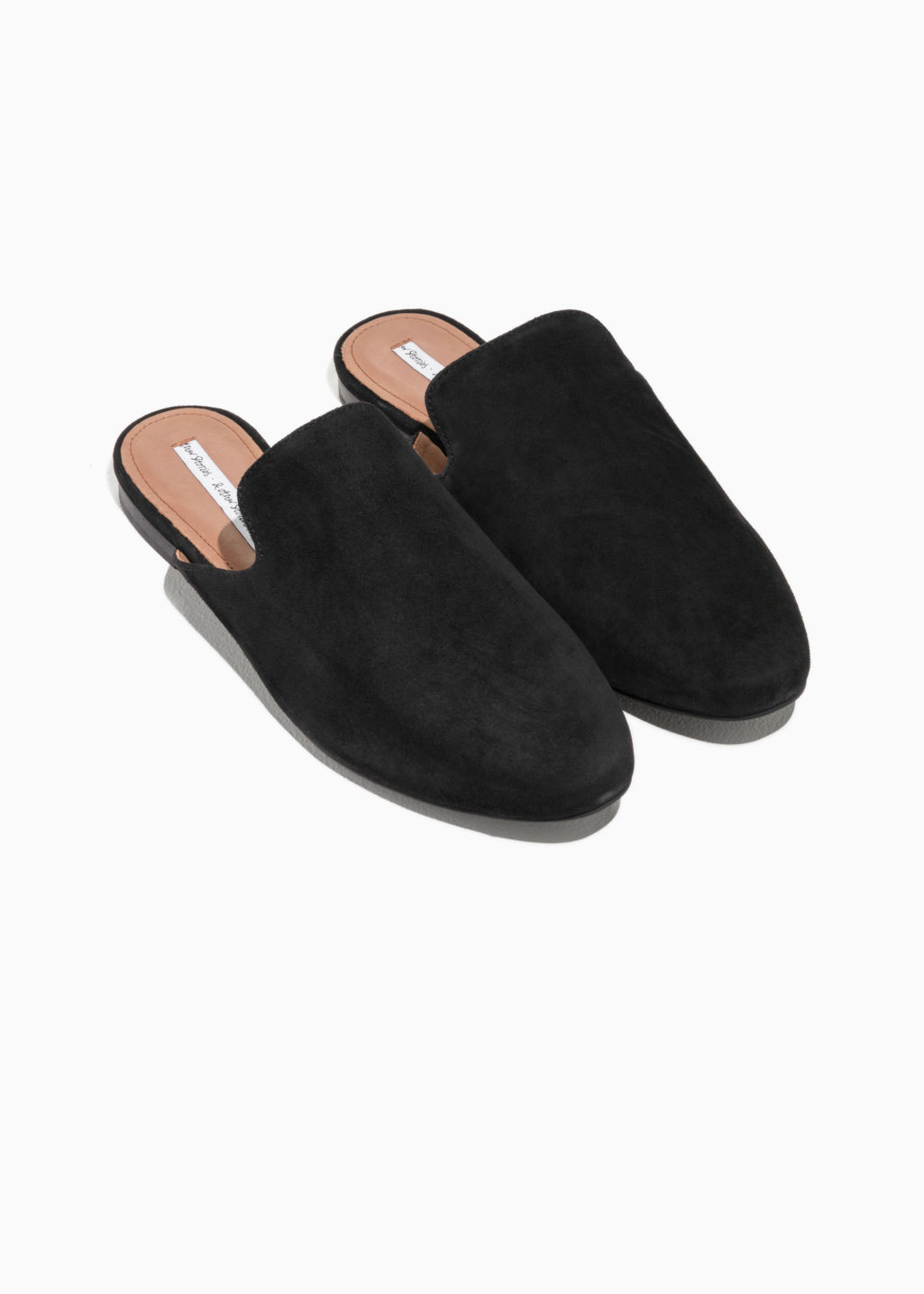 Back image of Stories metallic flames slip-in loafers in black