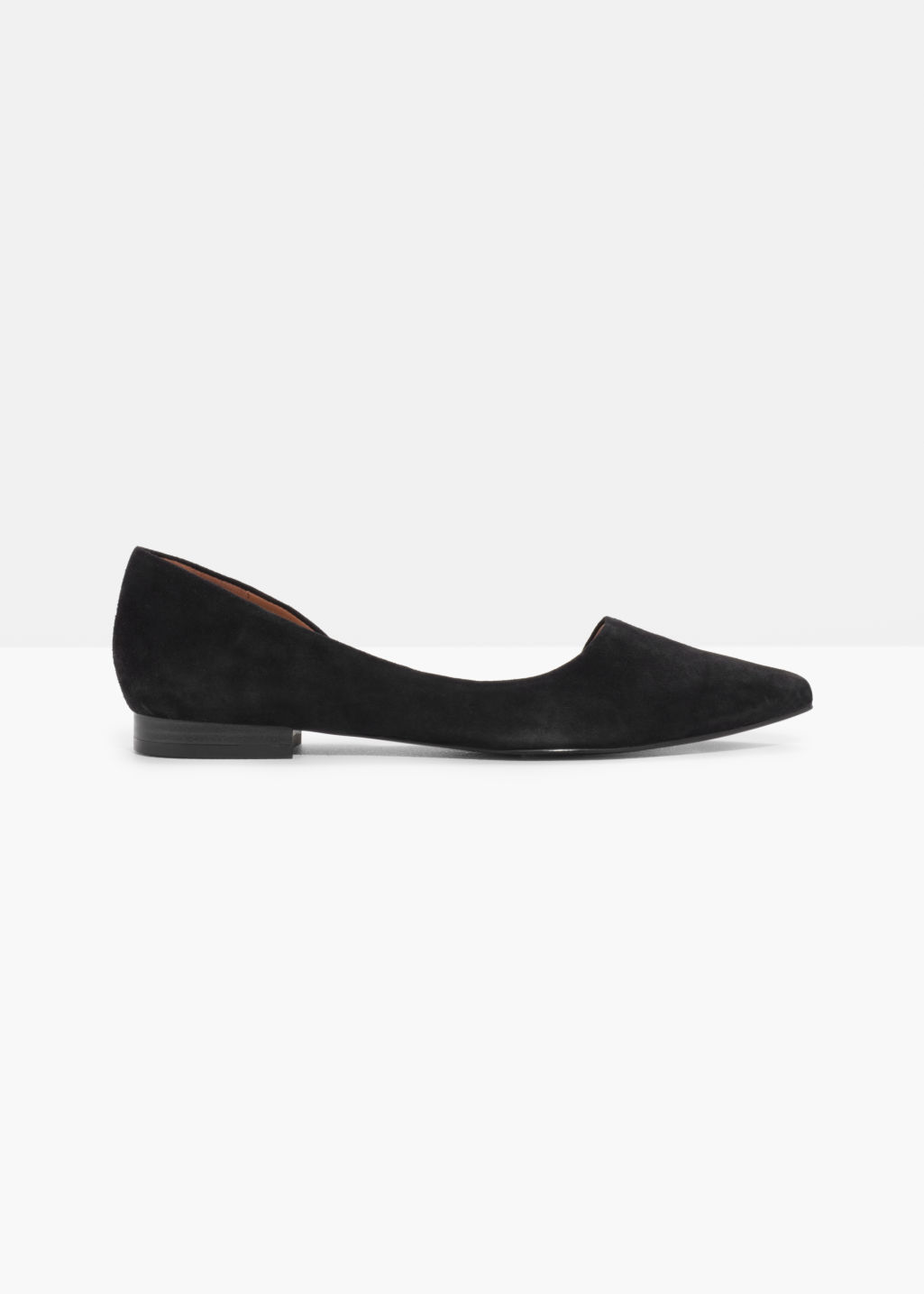 Front image of Stories asymmetric suede ballerina in black
