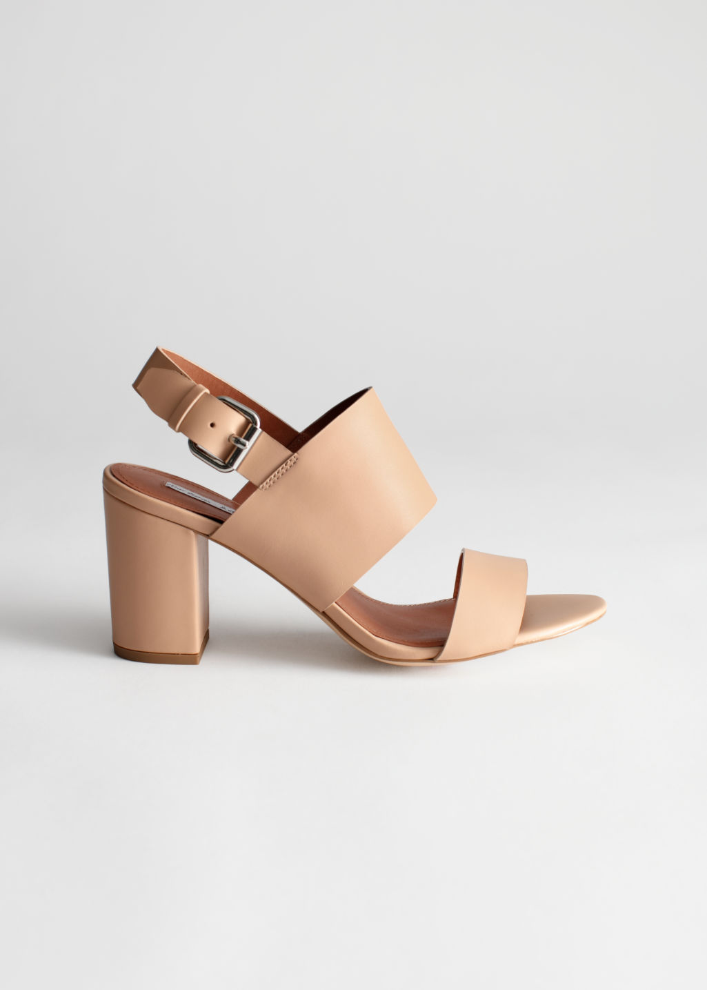 Front image of Stories heel strap leather sandalette in beige