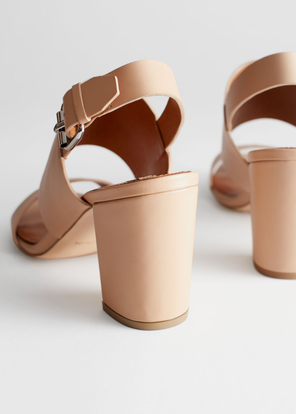 Back image of Stories heel strap leather sandals in beige