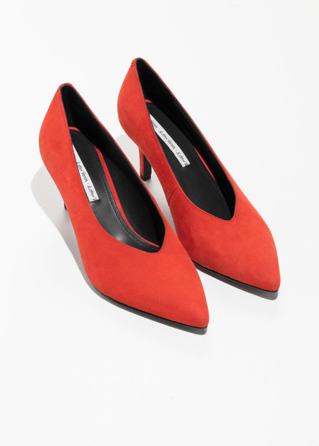 Back image of Stories pointed suede pump in orange