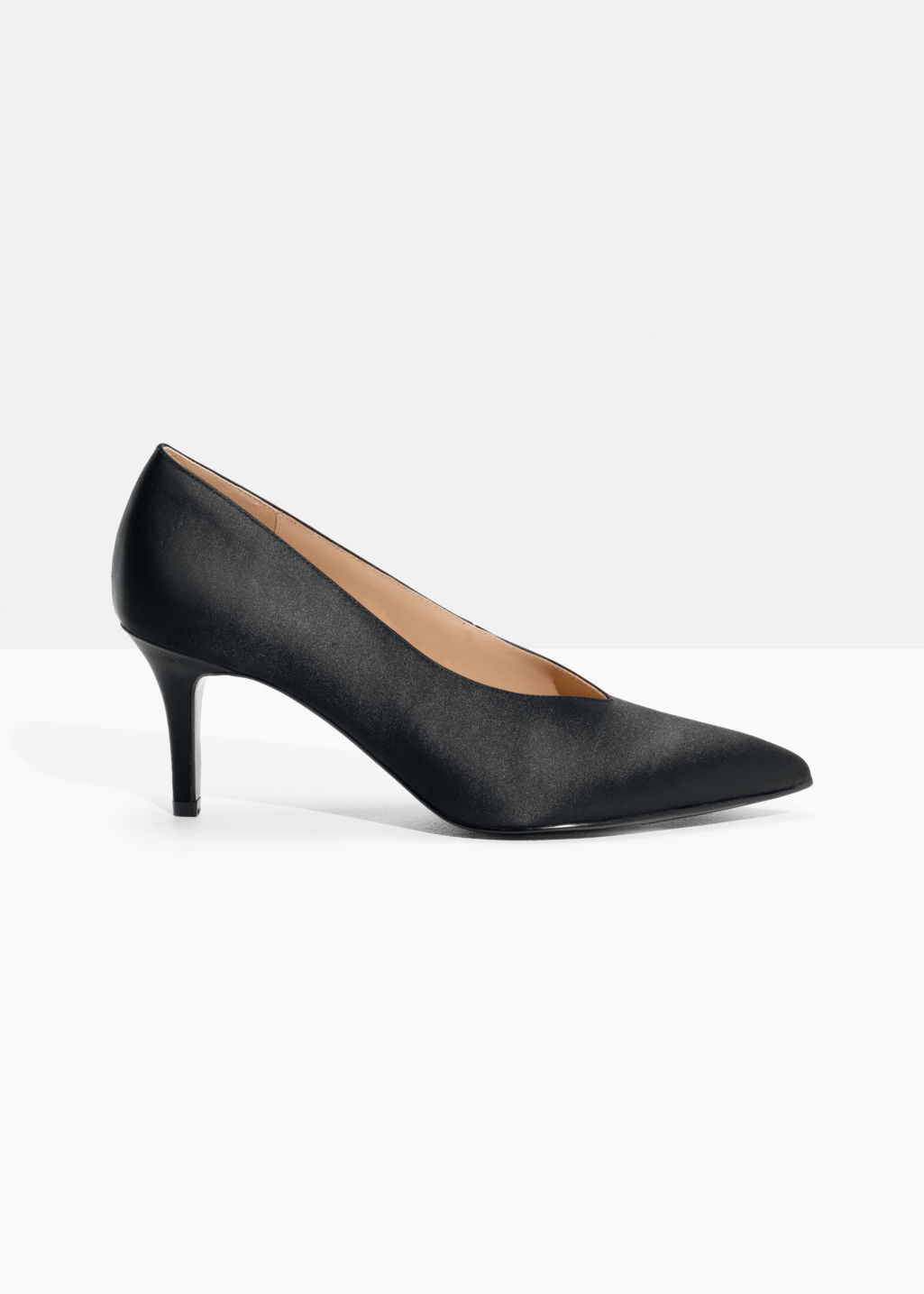 Front image of Stories pointed suede pump in black