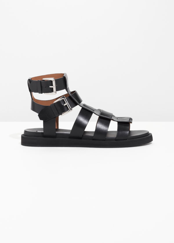 Front image of Stories gladiator leather sandal in black