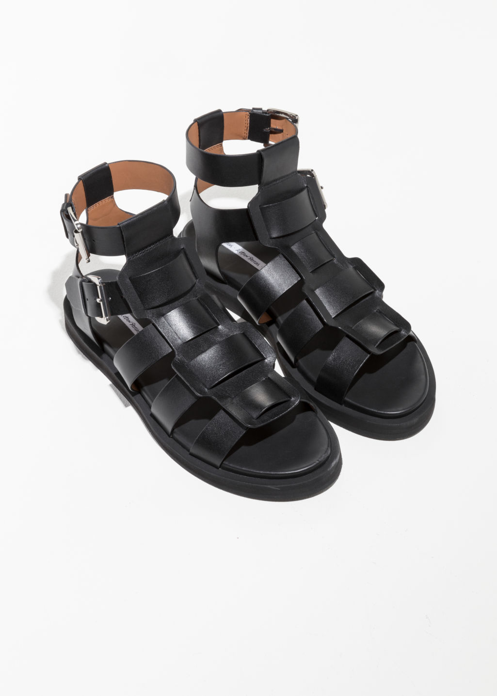 Back image of Stories gladiator leather sandal in black