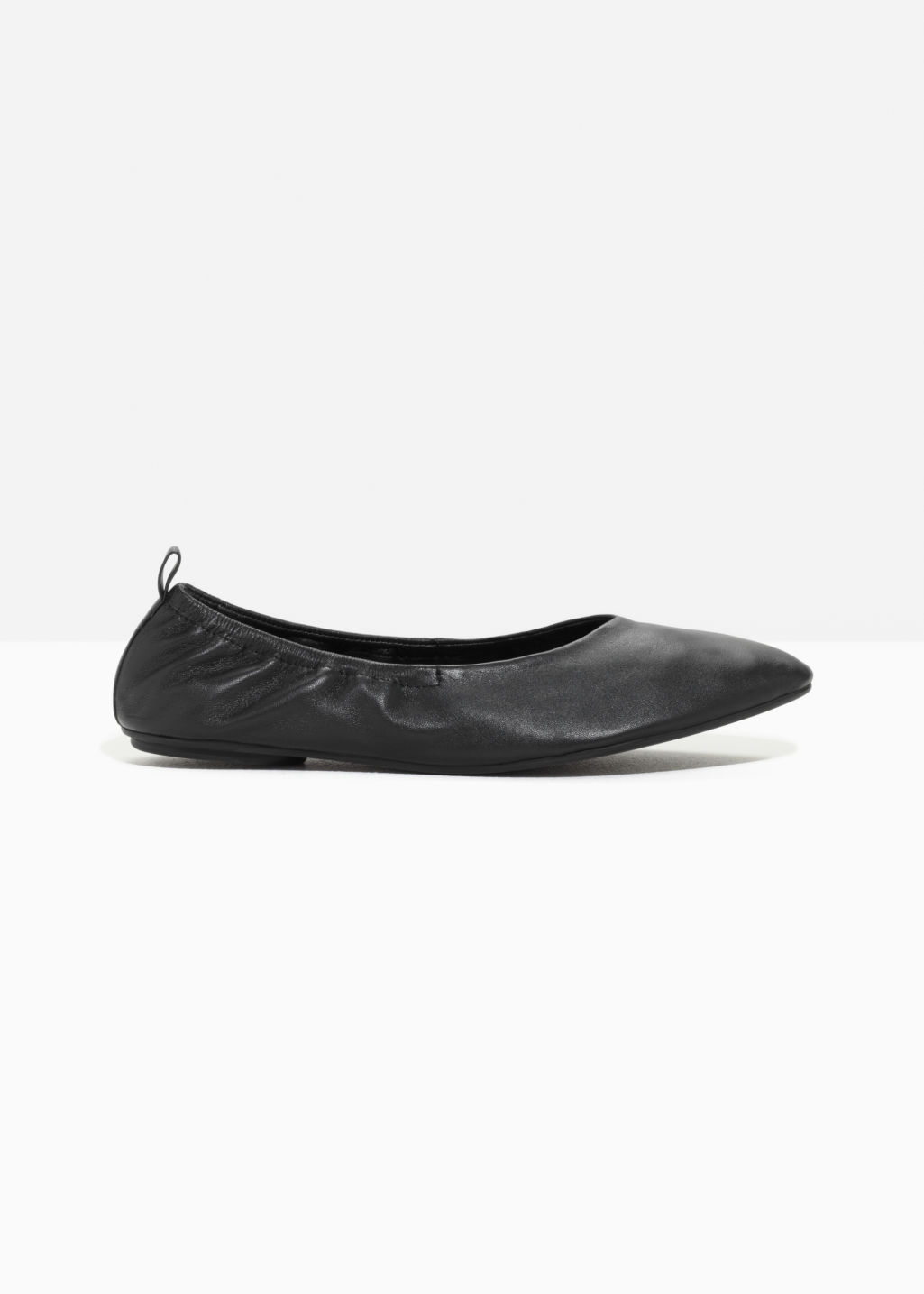 Front image of Stories leather ballet flat  in black