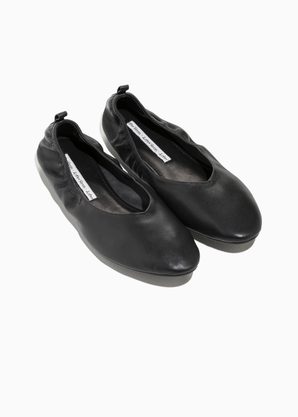Back image of Stories leather ballet flat  in black