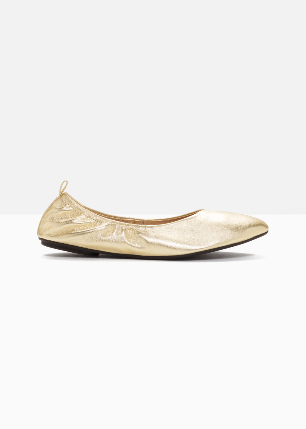 Front image of Stories leather ballet flat  in gold
