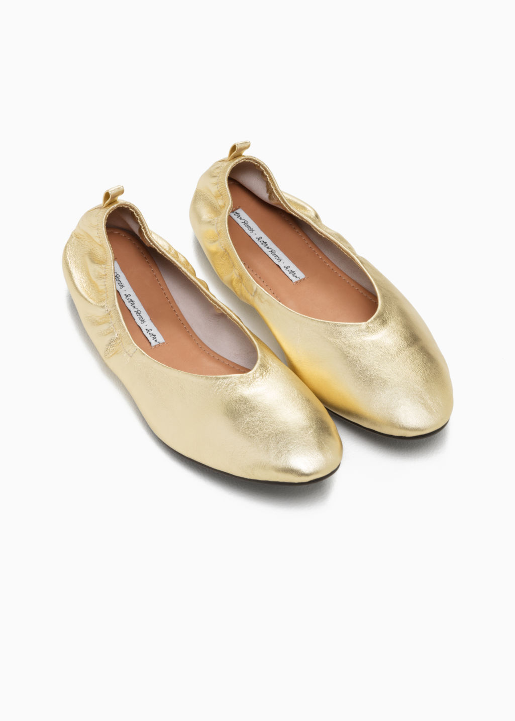 Back image of Stories leather ballet flat  in gold