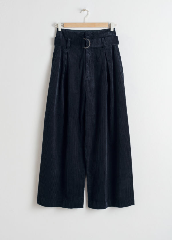 Front image of Stories wide corduroy trousers in blue