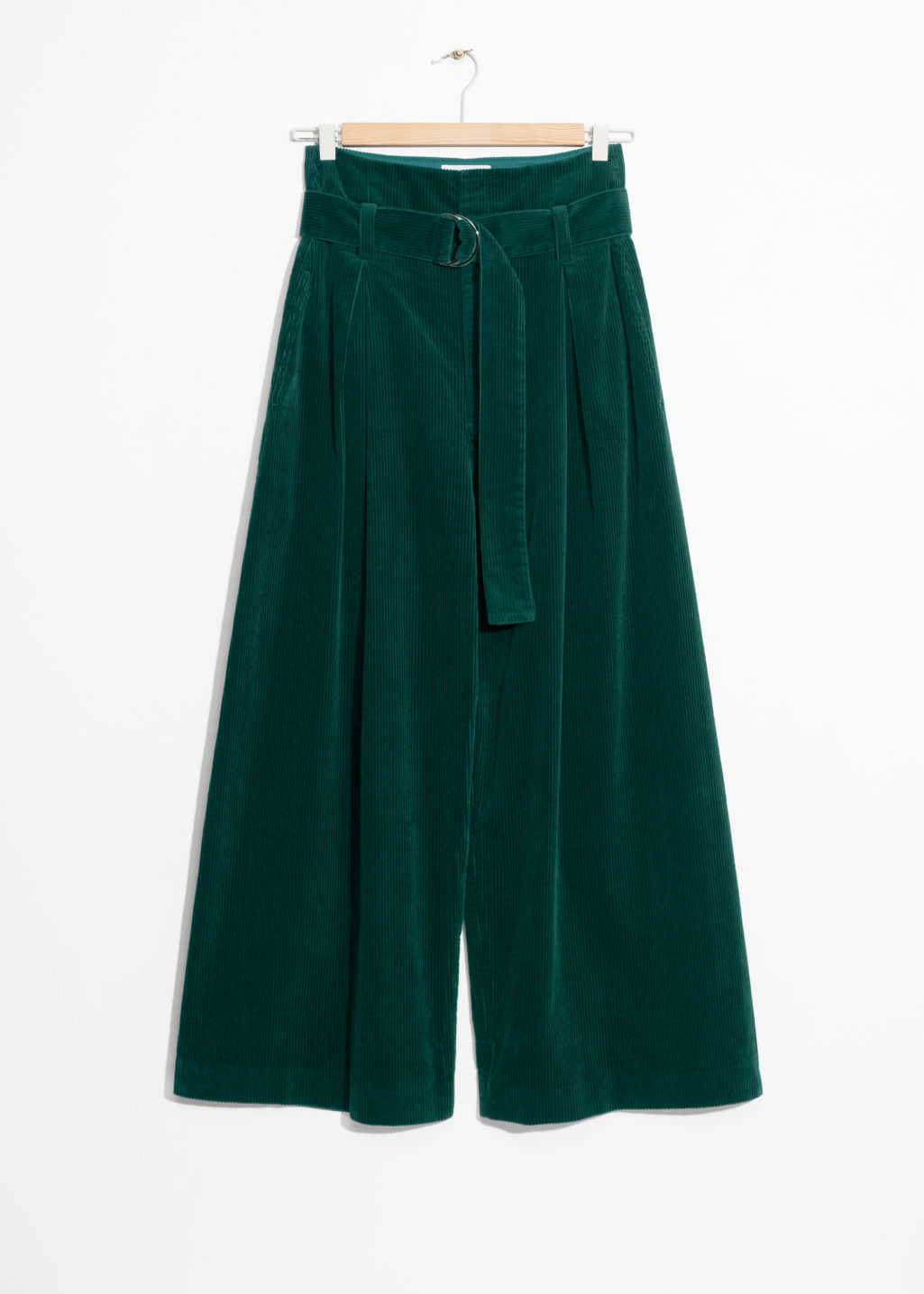 Front image of Stories wide corduroy trousers in green