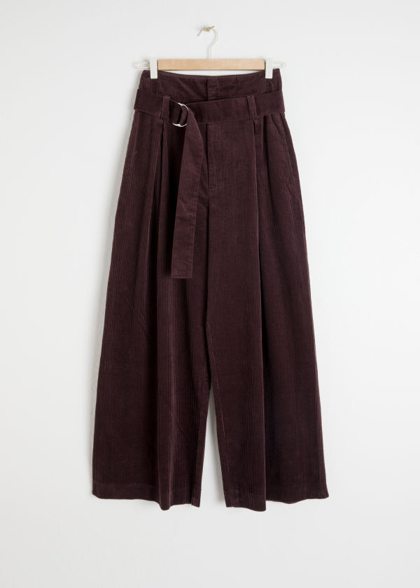 Front image of Stories wide corduroy trousers in brown