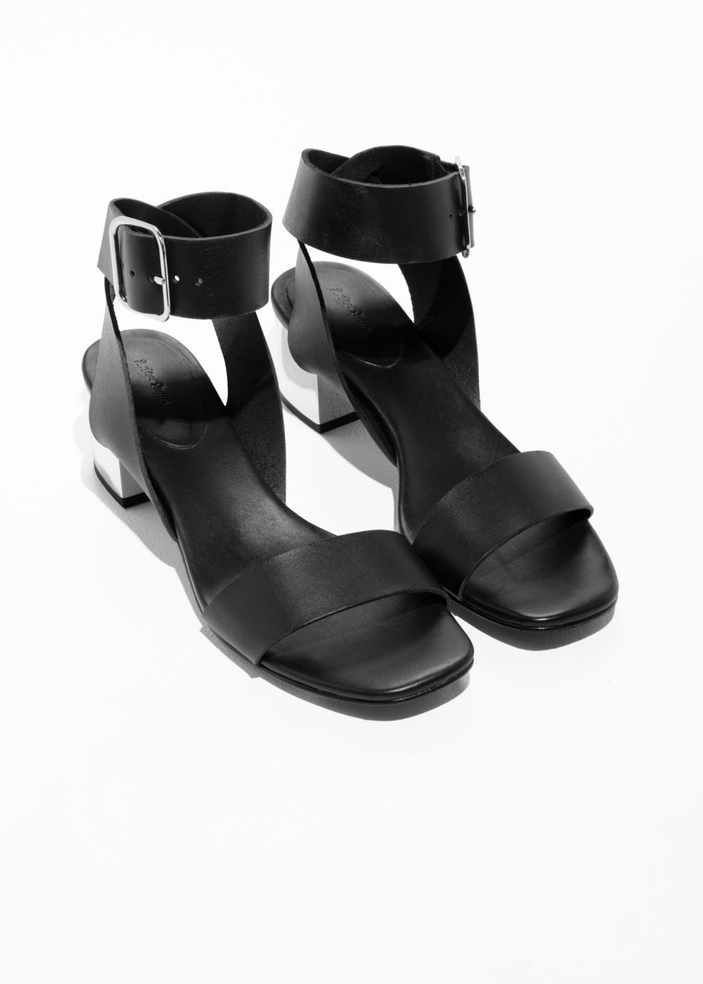 Back image of Stories mirrored heel leather sandals in black