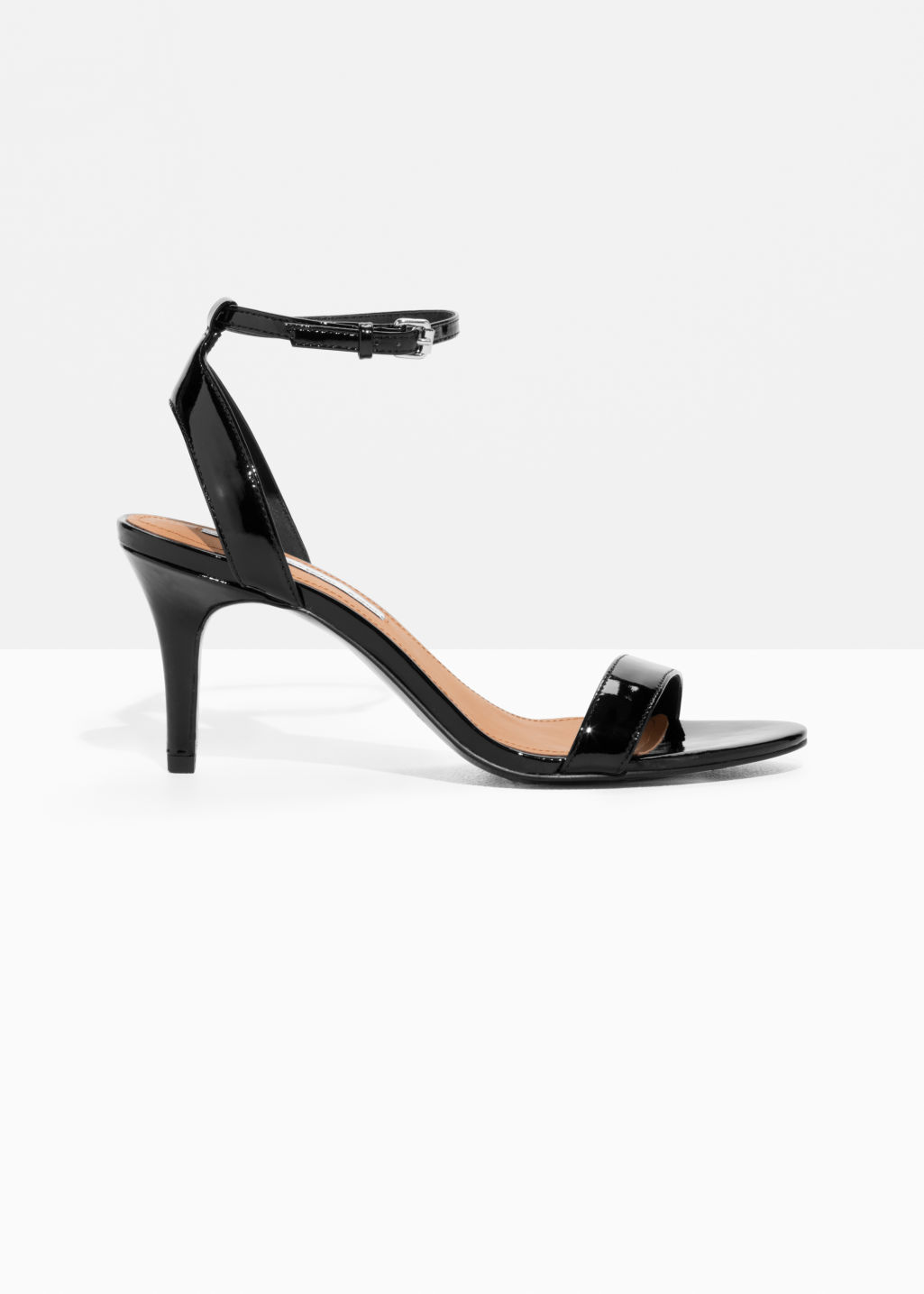 Front image of Stories two-strap sandalette in black