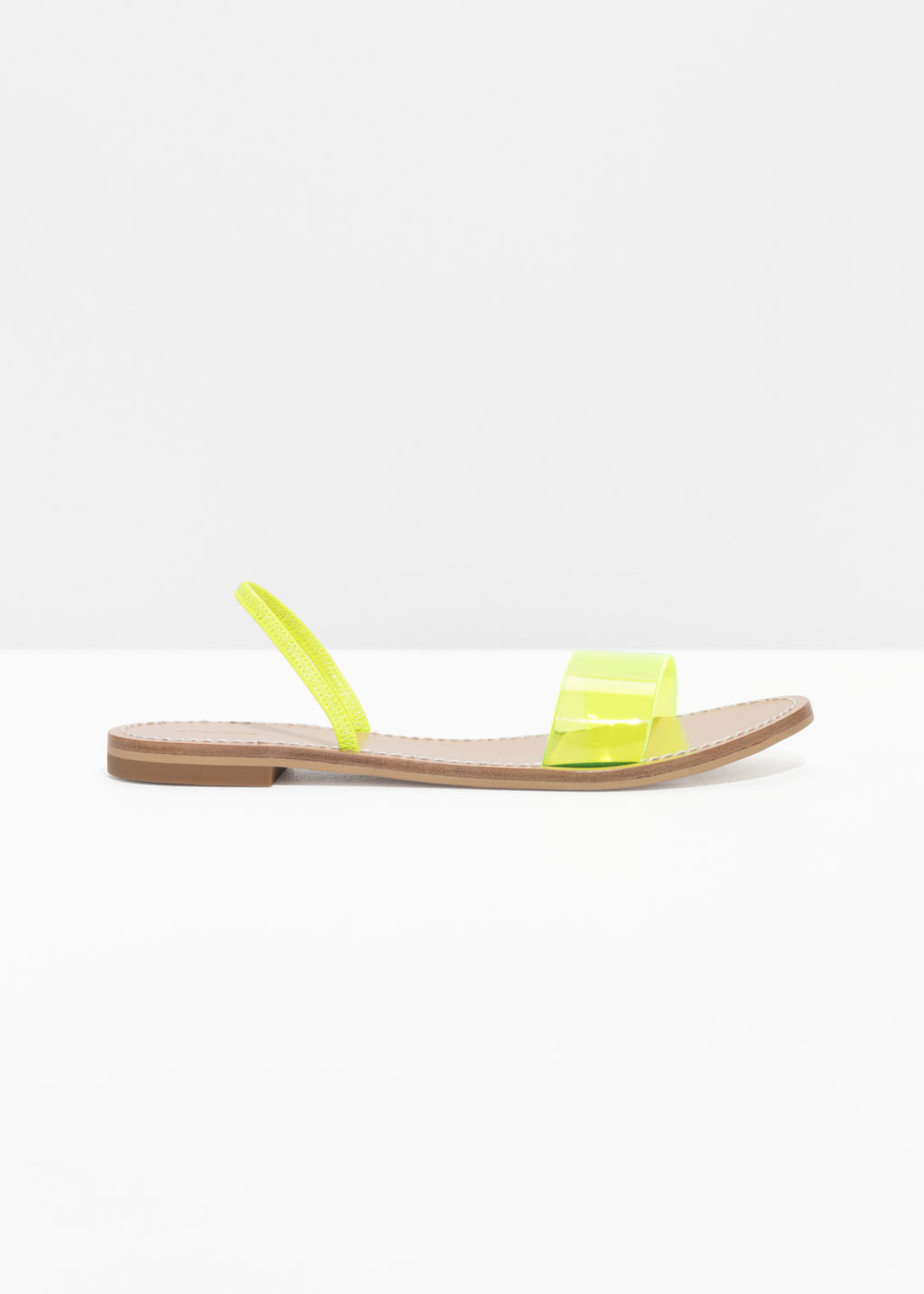 Front image of Stories neon transparent sandal in yellow