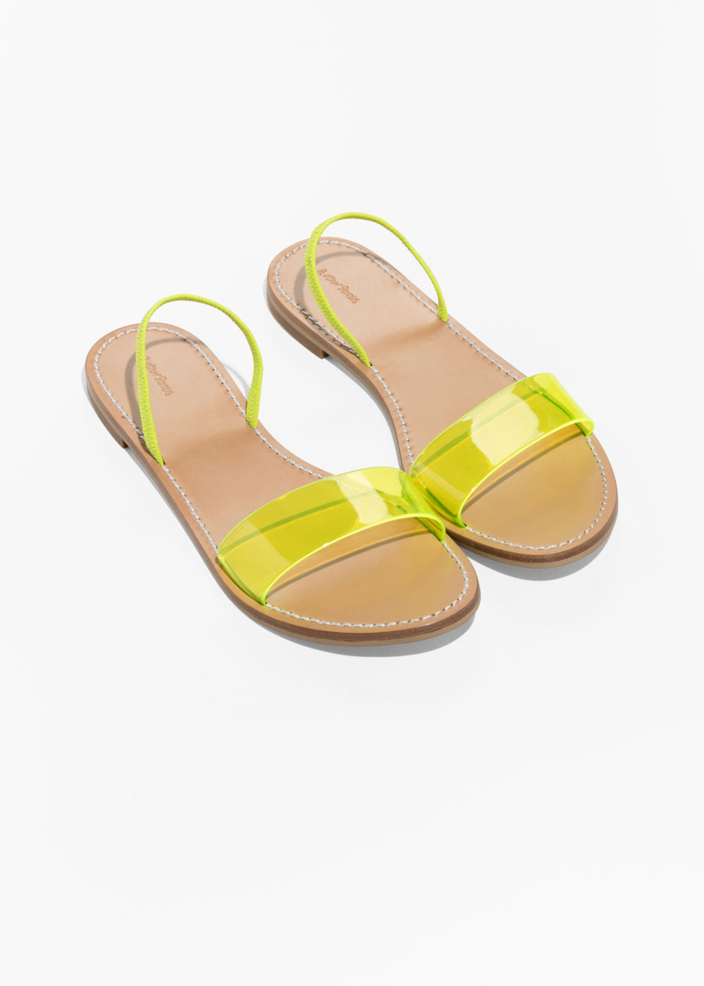 Back image of Stories neon transparent sandal in yellow