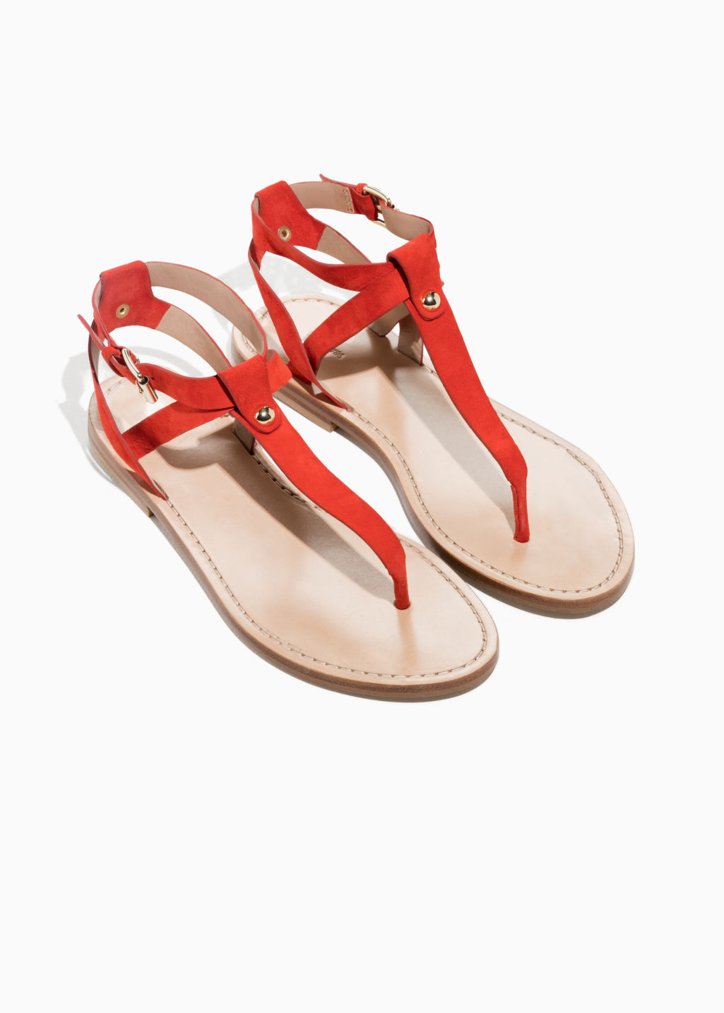 Back image of Stories suede thong sandal in red