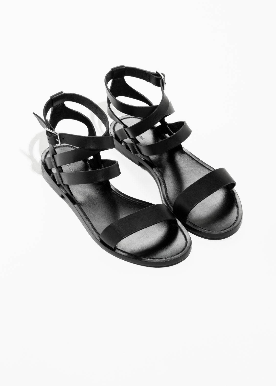 Envío gratis para barato & OTHER STORIES Raw Edge Leather Sandals - Black Precio bajo tarifa de envío Perfecto en línea Ubicaciones de puntos de venta a la venta KVZ1KKI5