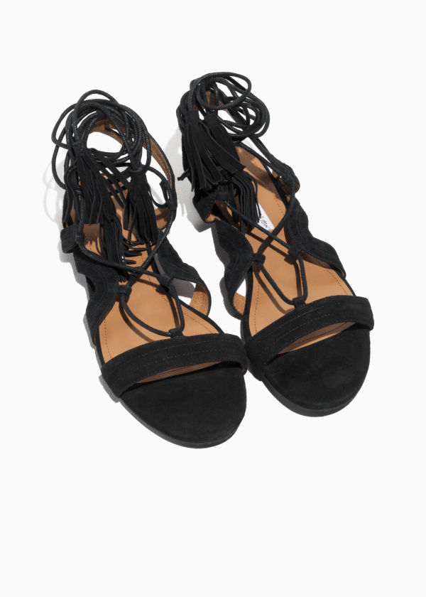 Suede Lace Up Tassel Sandal