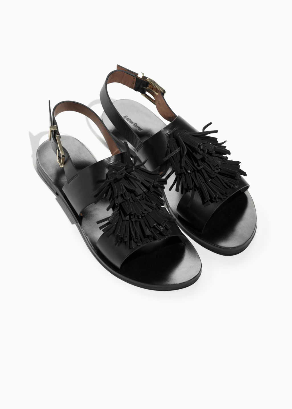 Back image of Stories suede tassel leather sandalette in black