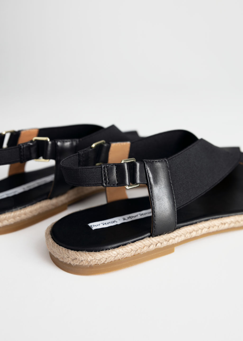 Back image of Stories cross strap sandal in black