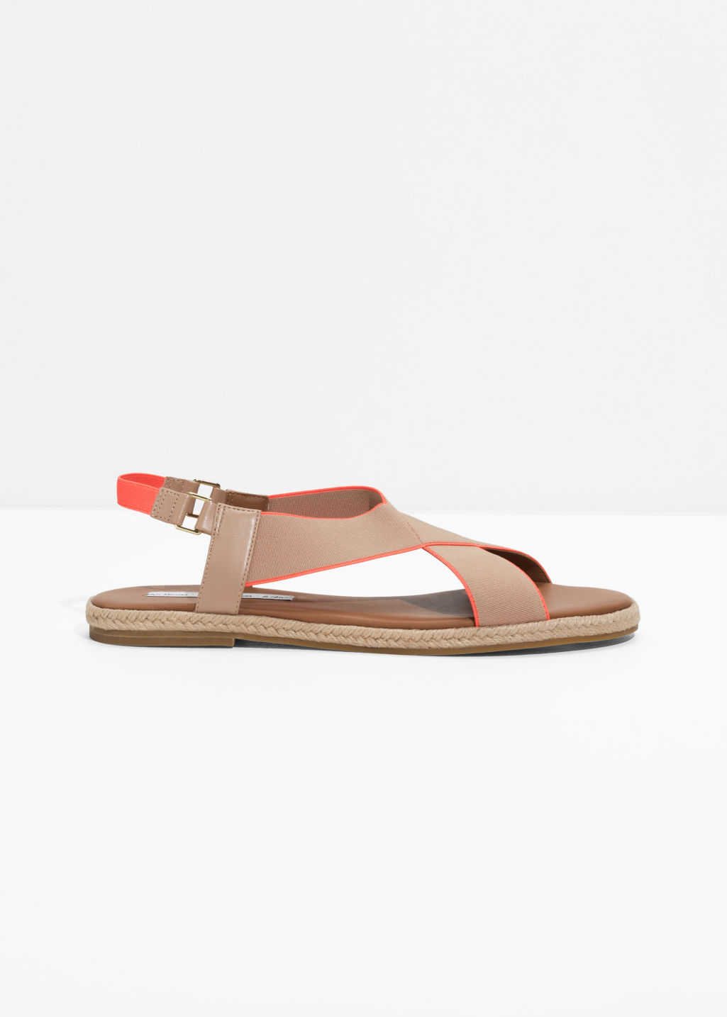 Front image of Stories cross strap sandal in beige