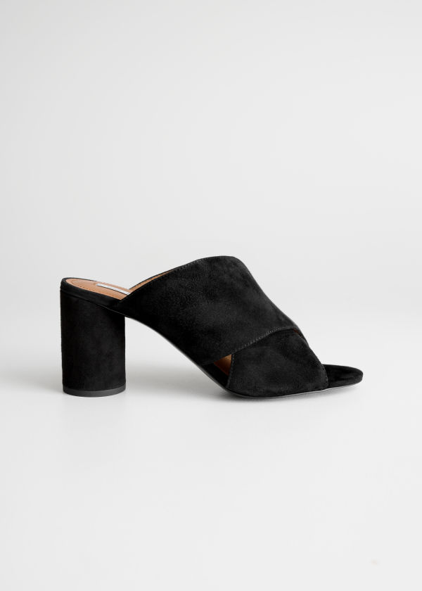 Front image of Stories suede cross strap mule in black