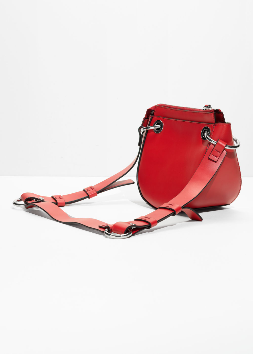 Back image of Stories mini leather saddle bag  in red