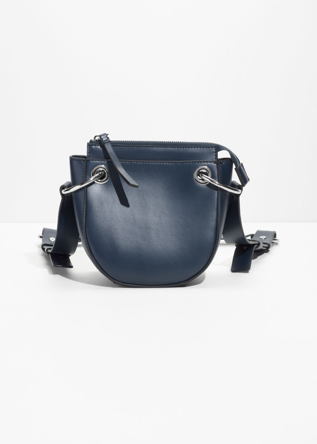 Front image of Stories mini leather saddle bag  in blue