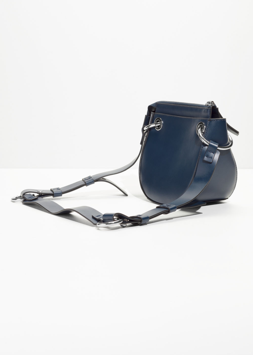 Back image of Stories mini leather saddle bag  in blue
