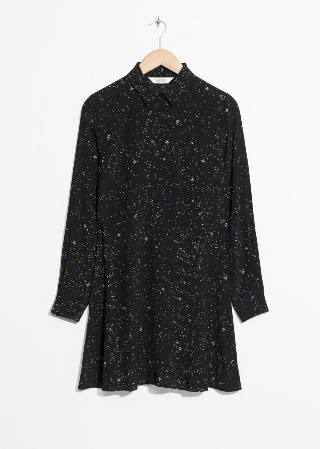 Front image of Stories fit & flare shirt dress  in black