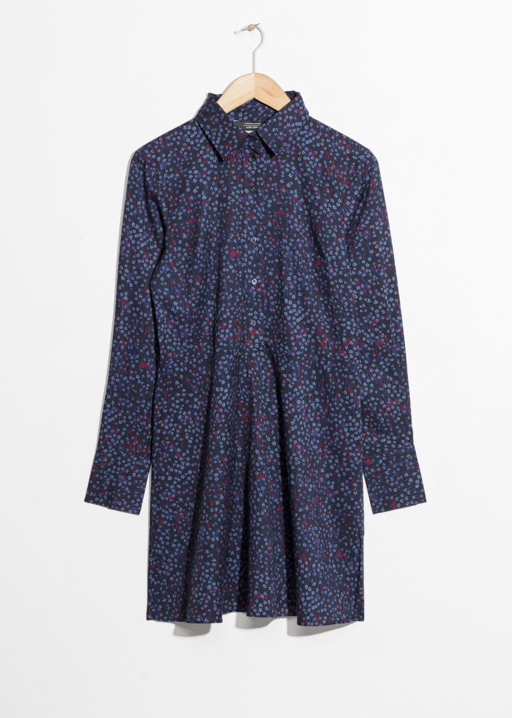 Front image of Stories fit & flare shirt dress  in blue