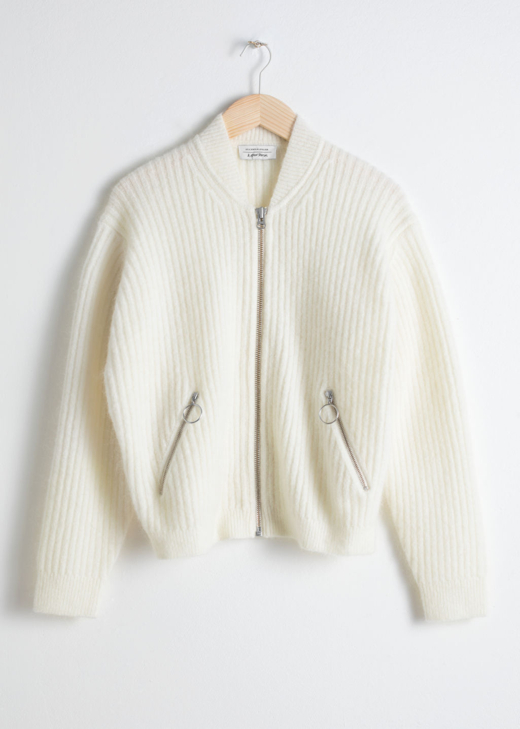 Front image of Stories wool & mohair bomber knit in beige