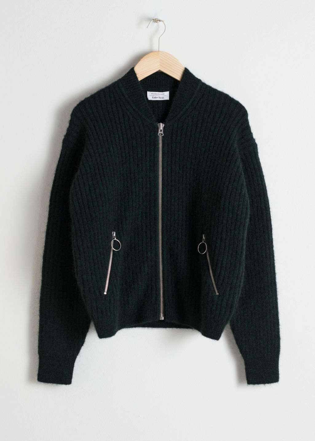 Front image of Stories wool & mohair bomber knit in green