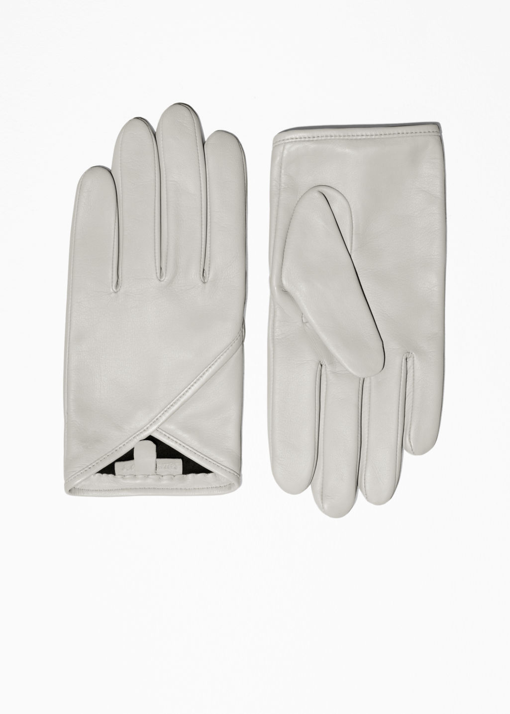 Front image of Stories overlapping fold leather gloves in grey