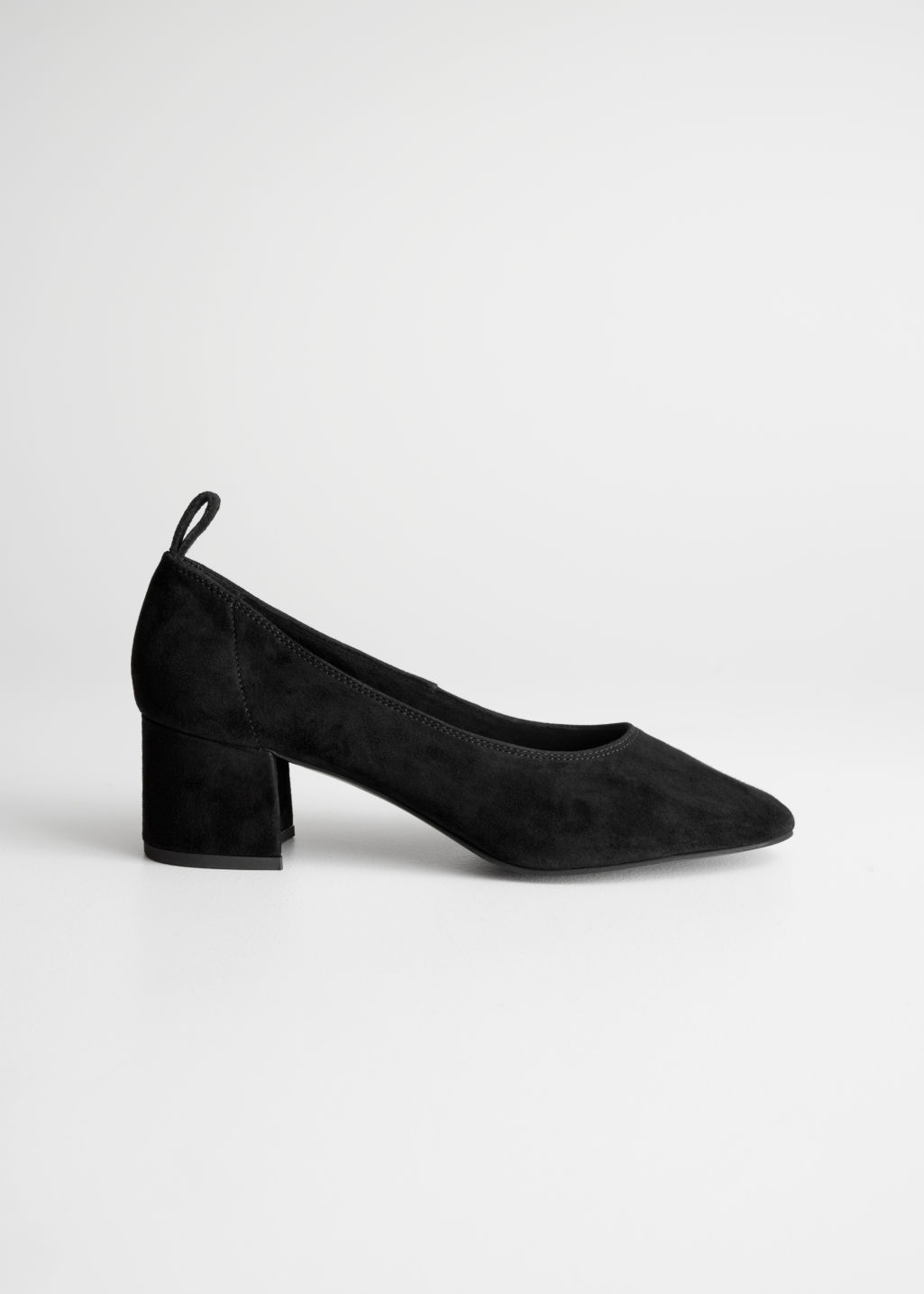 Front image of Stories suede ballet pump in black