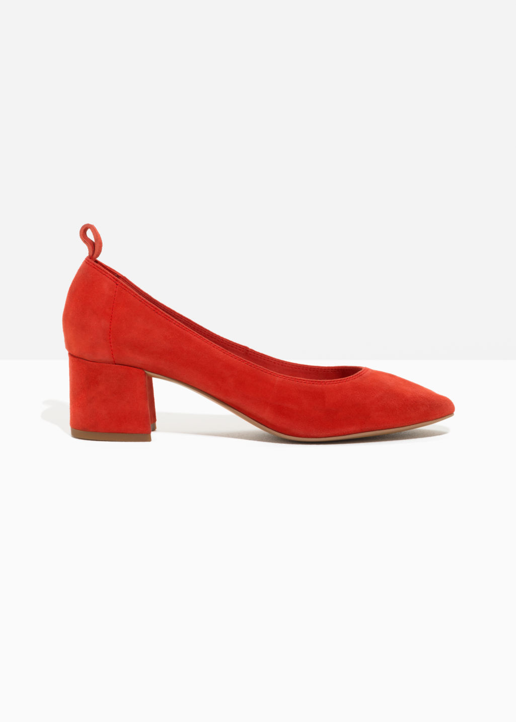 Front image of Stories suede ballet pump in red