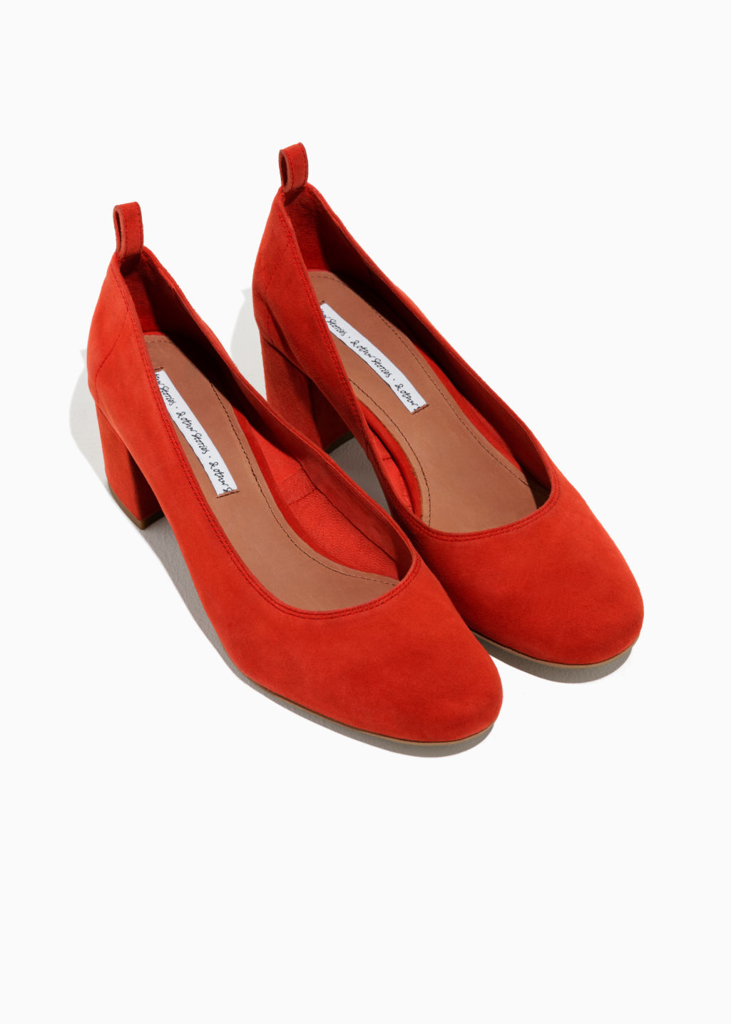 Back image of Stories suede ballet pump in red