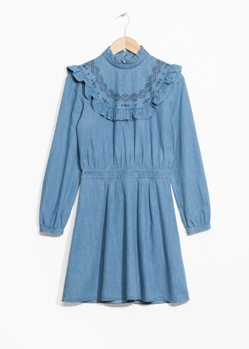 Front image of Stories frill denim dress in blue
