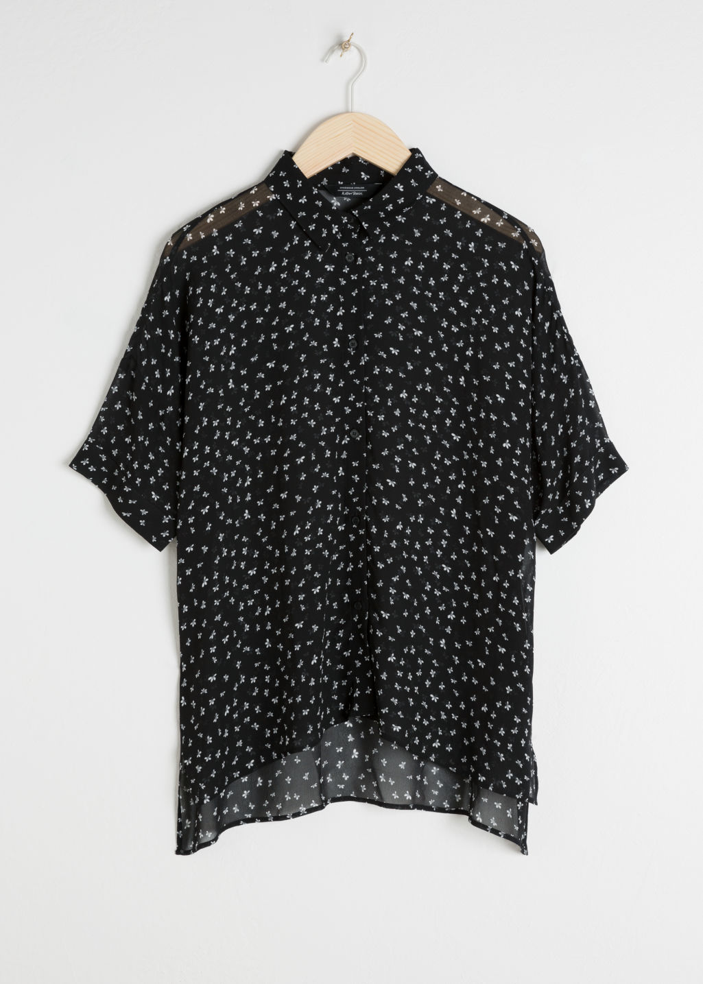 Front image of Stories oversized blouse  in black