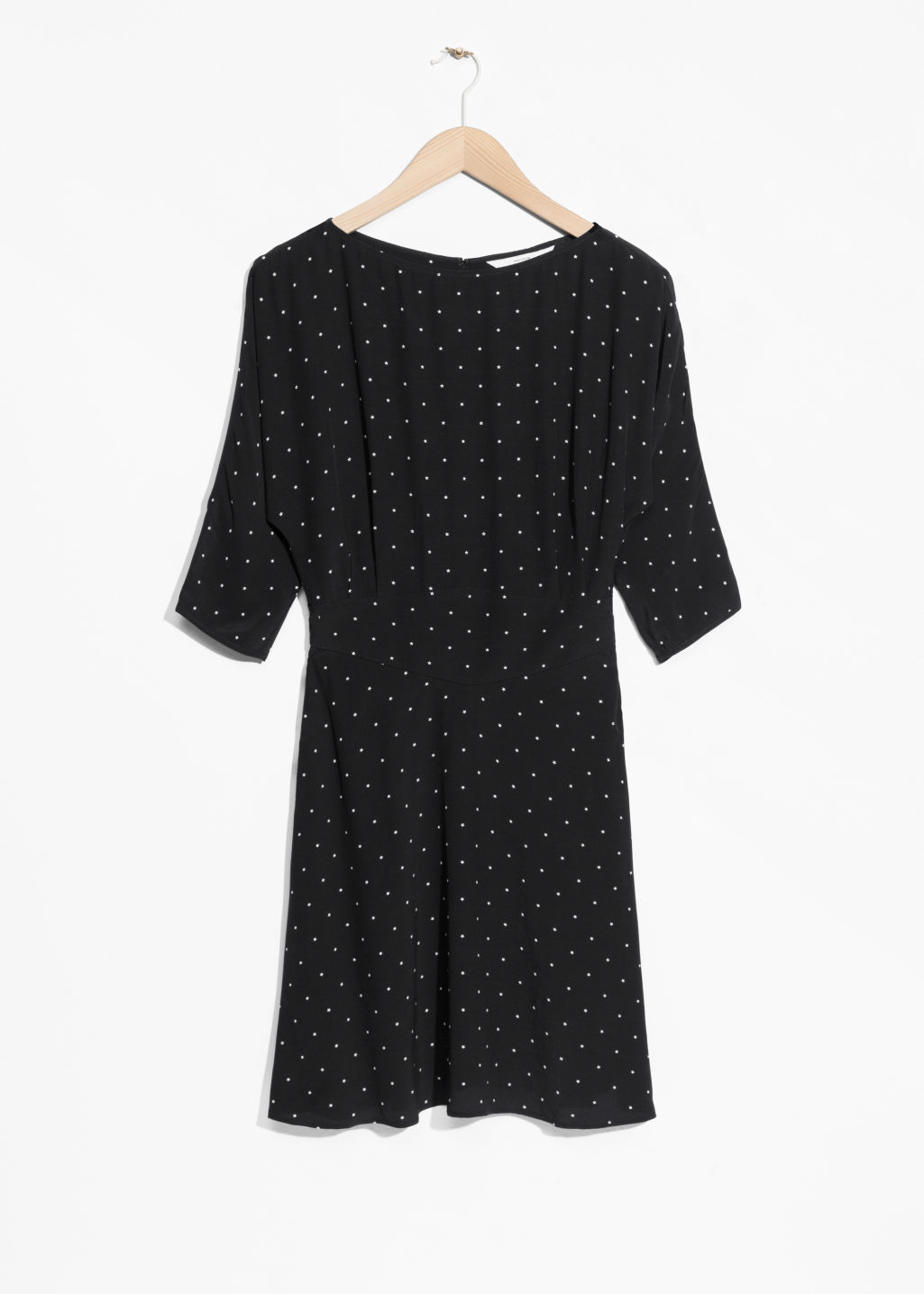 Front image of Stories 3/4 sleeve dress in black
