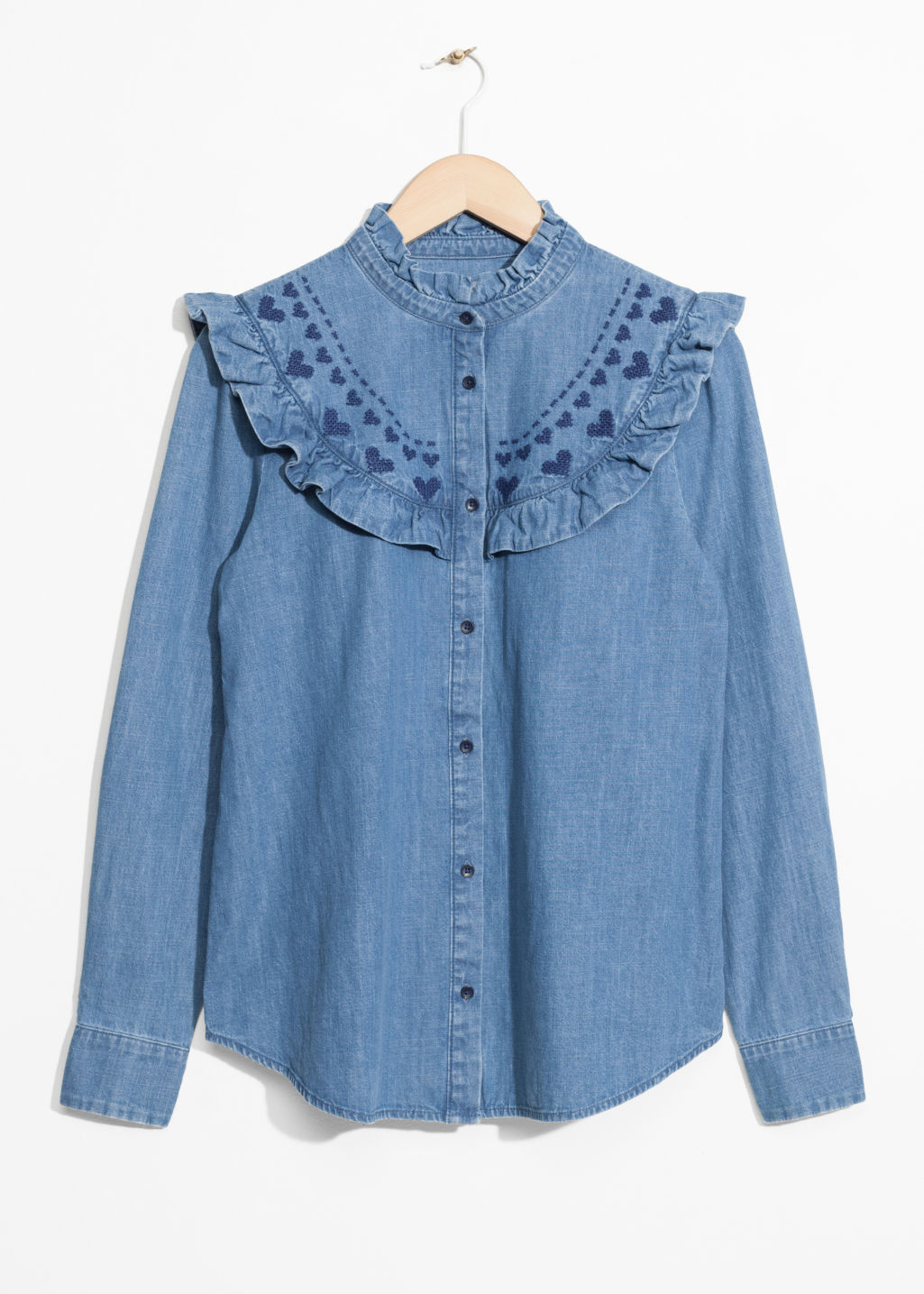 Front image of Stories frilled denim blouse  in blue