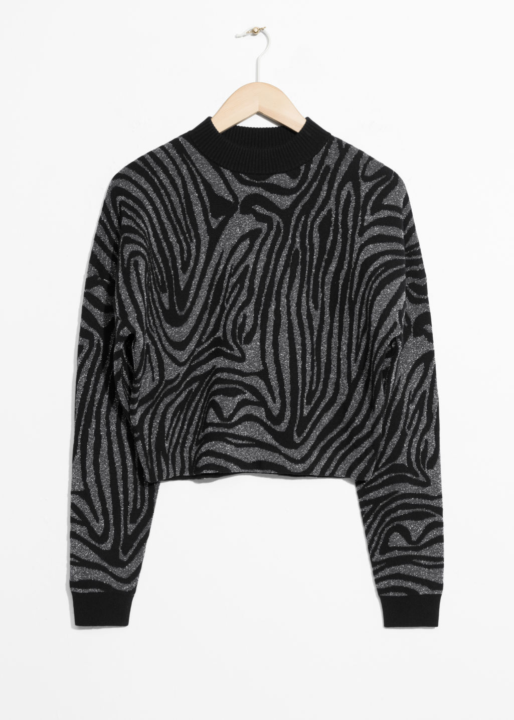Front image of Stories jacquard zebra sweater  in black
