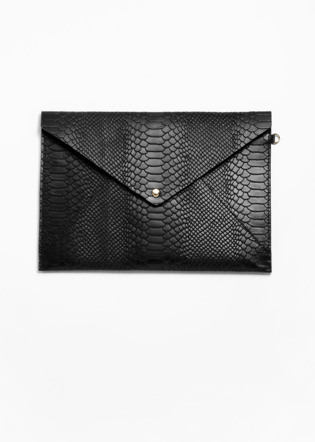 Front image of Stories leather a4 envelope purse in black