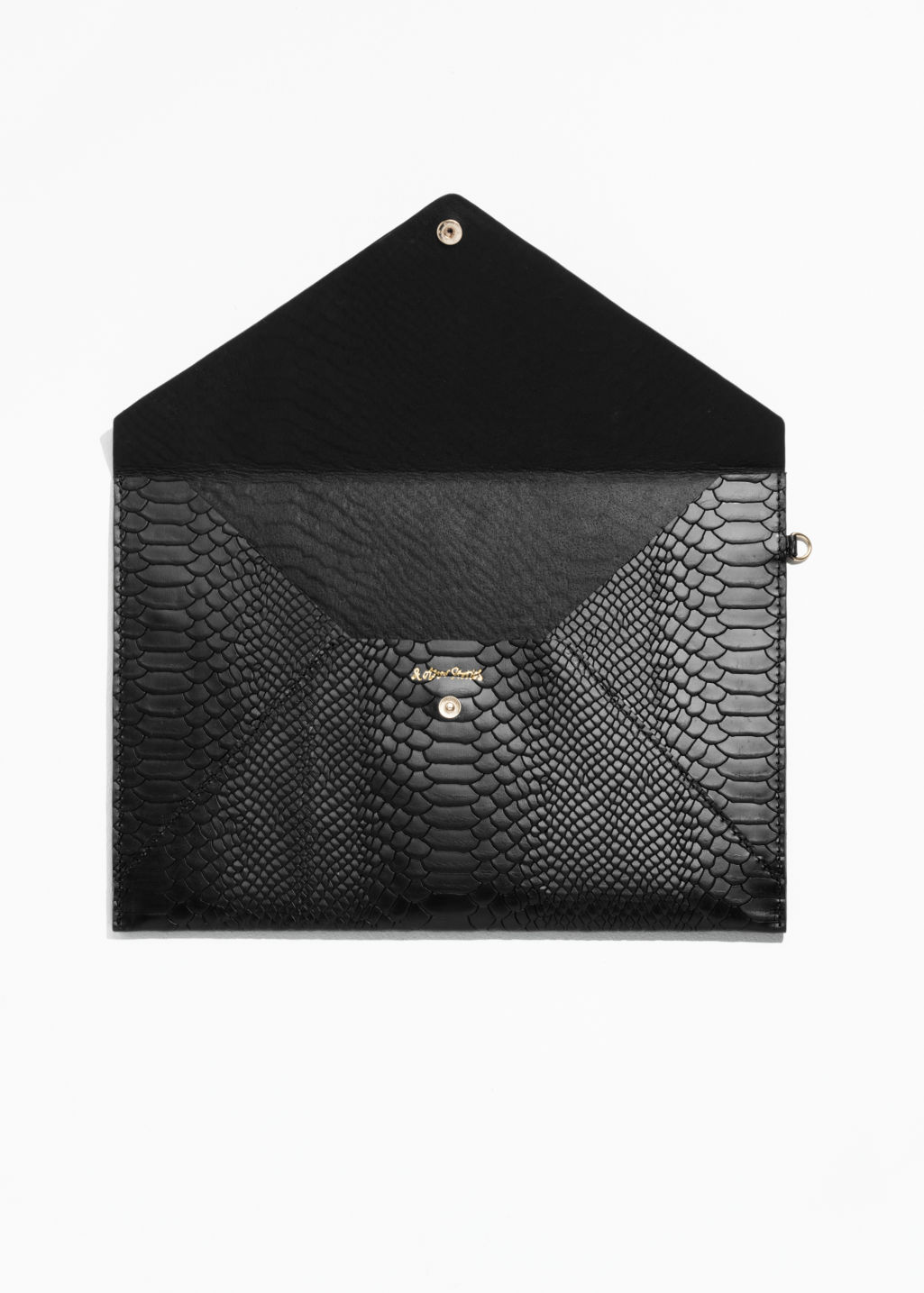 Back image of Stories leather a4 envelope purse in black