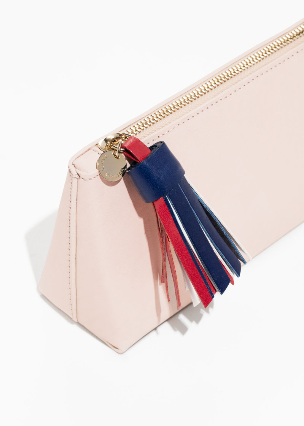 Back image of Stories tricolour tassel leather purse in orange