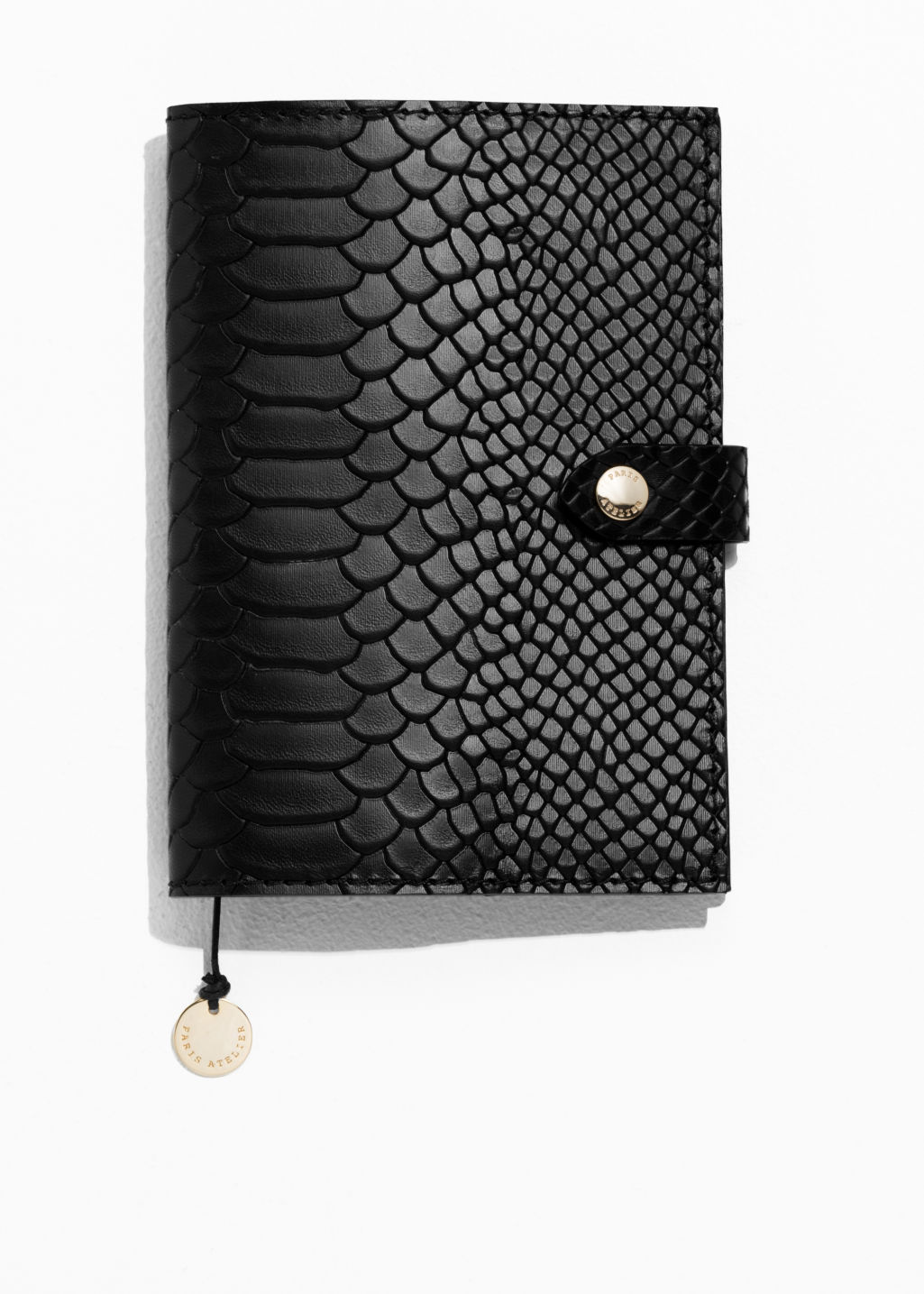 Front image of Stories leather a6 notebook cover in black