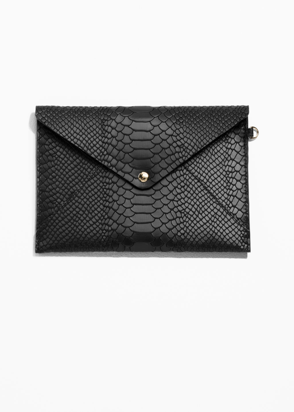 Front image of Stories leather a5 envelope purse in black