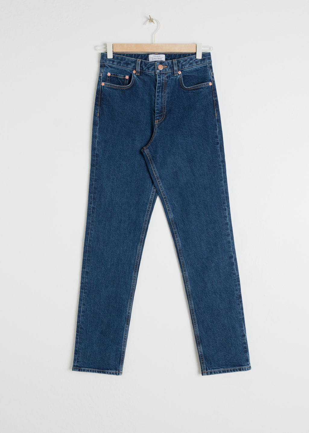 Front image of Stories straight denim jeans in blue