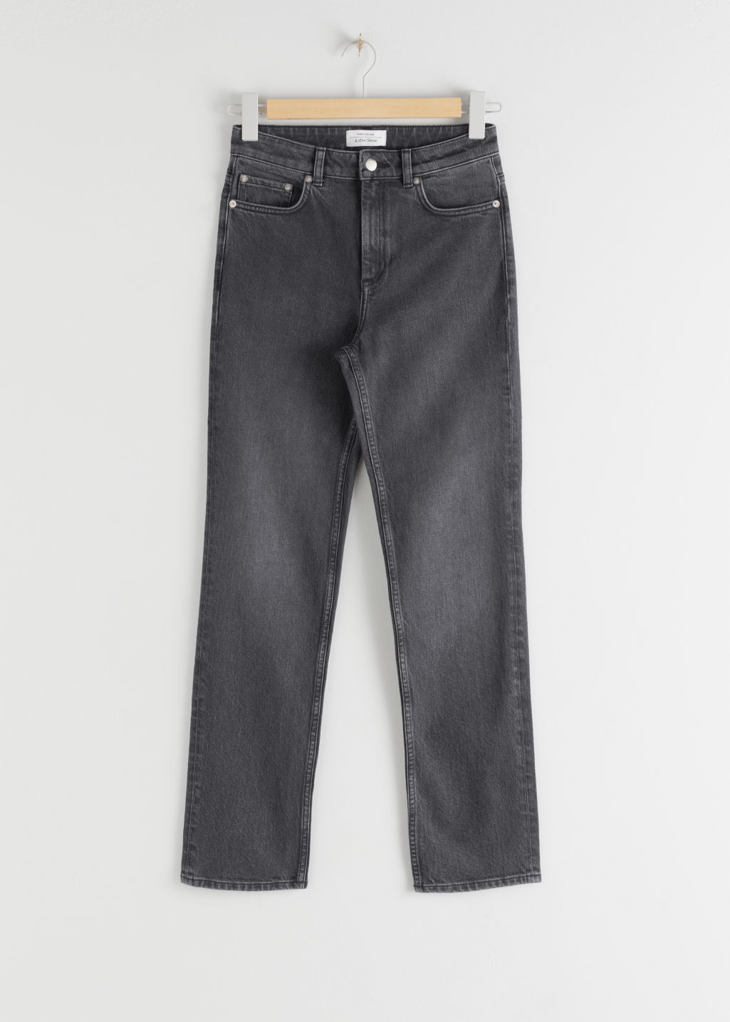 Front image of Stories straight stretch jeans in grey