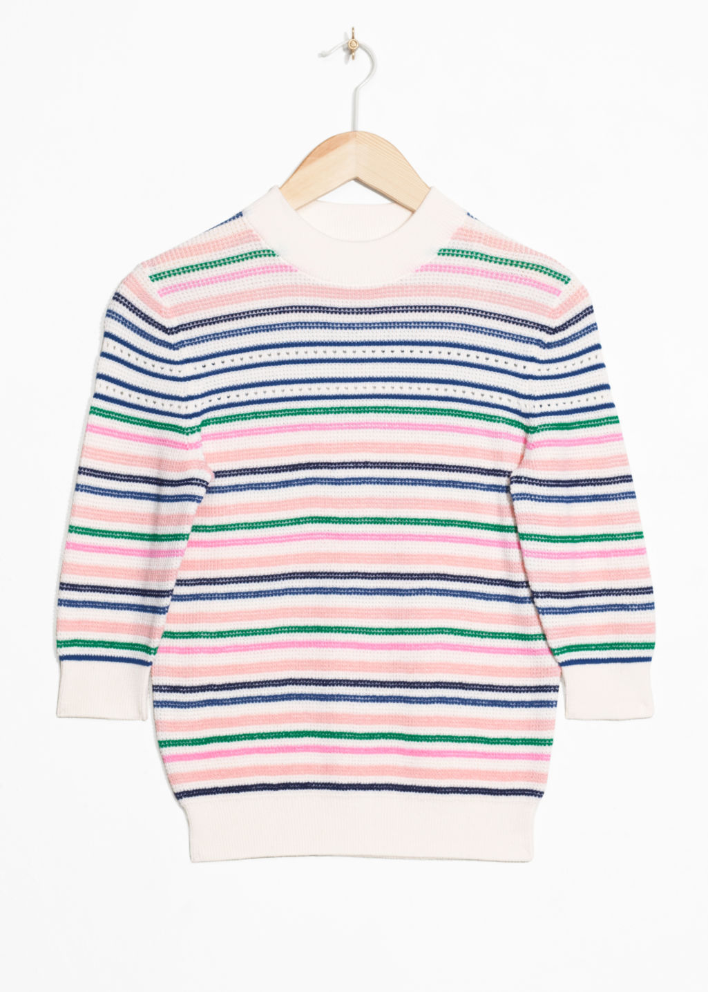 Front image of Stories cotton multi-stripe sweater in white